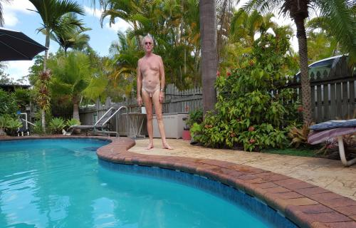 swimming backyard Nude